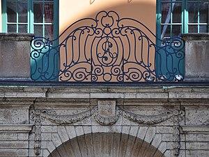 Åhlinska skolan - The monogram of Åhlinska skolan can still be seen on the old building.