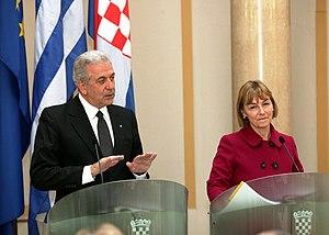 Vesna Pusić - Greek Foreign Minister Dimitris Avramopoulos and Croatian Foreign Minister Vesna Pusić in Zagreb in April 2013