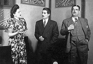 Loreta (actress) -  An Screenshot of Mardom play in 1940s. From right to left: Hoseyn Kheyrkhah, Mostafa Oskui and Loretta