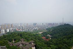 A view of Ezhou urban area from the top of Wuchang Tower, West Hill