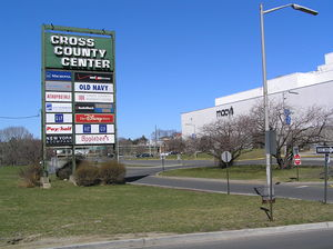 Cross County Shopping Center - The iconic former marquee of the Cross County Shopping Center with Macy's in the background. Pay/Half and Disney Store closed after the photo was taken.