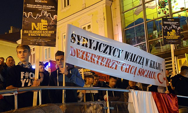 An anti-Islamic protest in Poland 02015-10-02 Der anti-islamische Protest in Polen (2015) - KORWiN.JPG