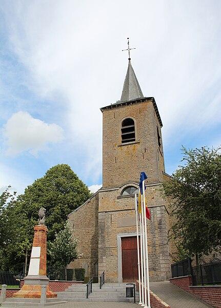 Mévergnies-lez-Lens (Belgique), l'église Saints-Gervais et Protais (1838).