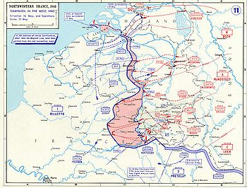 The German advance until noon, 16 May 1940