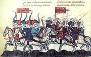 Colorful medieval depiction of a battle. Several figures are shown on horseback riding to the left, with a group of several Mongols being chased by Muslims