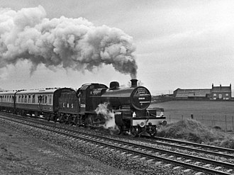 S&DJR 7F 2-8-0 - LMS 13809, a preserved 7F locomotive, working the Hellifield to Carnforth leg of a Cumbrian Mountain Pullman in 1983