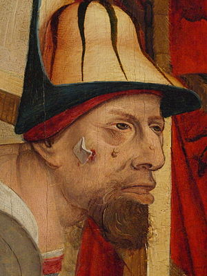 Dressing (medical) - Depiction of a dressing on a face from a painting from 1490