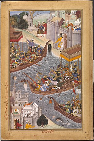 Bengali Muslims - Battle scene on the River Ganges depicted in the Akbarnama