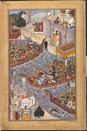 Bengali Muslims - Battle scene on the River Ganges depicted in the Akbarnama