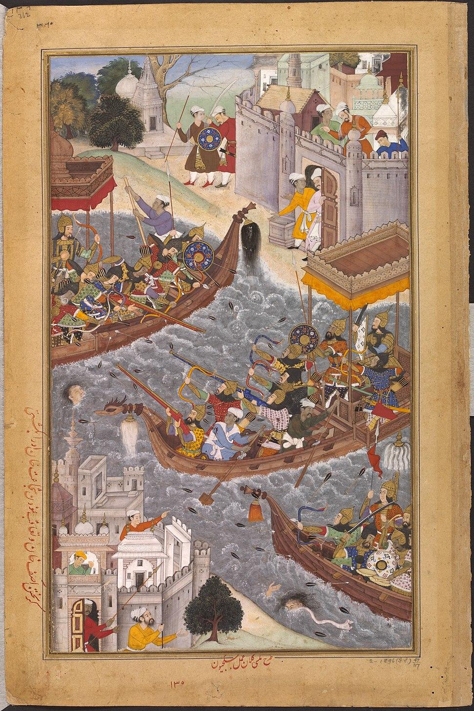 1565-Battle Scene with Boats on the Ganges-Akbarnama