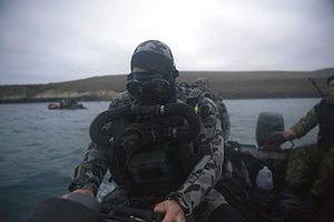 Clearance Diving Branch (RAN) - Clearance Diver preparing to conduct a maritime tactical operations dive using Divex Shadow Excursion rebreather during Exercise RIMPAC 2016 in Southern California