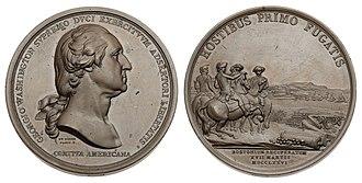Washington Before Boston Medal - Image: 1776 Washington Before Boston Comitia Americana Second Restrike (Baker 48G)