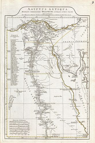 Egyptology - Image: 1794 Anville Map of Ancient Egypt Geographicus Egypt anville 1794