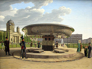 Johann Erdmann Hummel - The Granite Dish in the Berlin Lustgarten (1831), oil on canvas, 66 x 89 cm. Alte Nationalgalerie, Berlin