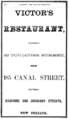 1866 Victors Restaurant advert Canal Street in New Orleans Louisiana.png