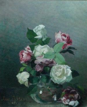 Ida Bothe - Roses in vase by Ida Bothe (1885).