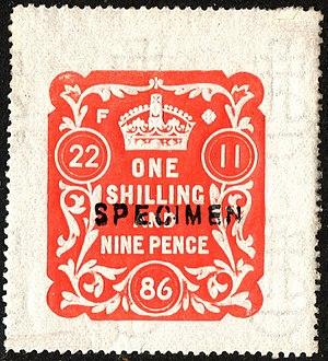 Revenue stamps of the United Kingdom - A British embossed revenue stamp of 1886 overprinted specimen.