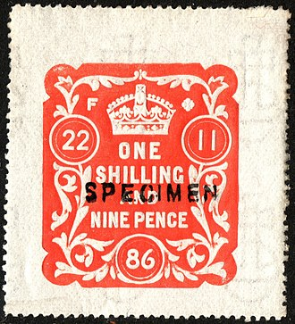 Paper embossing - Embossing on an 1886 revenue stamp of Great Britain.