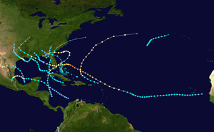 1947 Atlantic hurricane season - Image: 1947 Atlantic hurricane season summary map