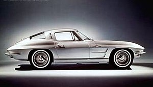 "Bill Mitchell (automobile designer) - 1963 Corvette Sting Ray Coupe featured what is sometimes referred to as ""Coke bottle"" styling.  For its first model year it included a split rear window (with a pillar in the middle), though the 1964-1967 coupes would feature a solid plane of curved glass instead."