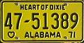 1971 Alabama passenger license plate.jpg