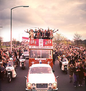 1973 FA Cup Final - Fans line the streets as the Sunderland team return home after winning the FA Cup