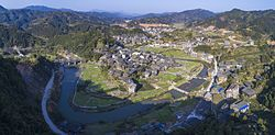 Aerial panorama of Chengyang, a district in Sanjiang