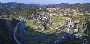 Sanjiang Dong Autonomous County - Aerial panorama of Chengyang, a district in Sanjiang