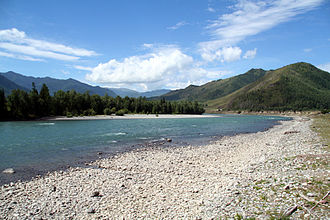 Katun River - The Katun River in Tungur village
