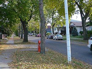 Riverdale, Edmonton - Residential Street in Riverdale looking south from Rowland Road.
