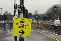 2014 Taunton track renewals - sign to rail replacement buses.JPG