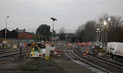 2014 Taunton track renewals - working on up main to loop point.JPG