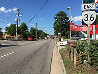 2017-07-07 17 27 38 View east along Virginia State Route 36 (Oaklawn Boulevard) at Colonial Corner Drive in Hopewell, Virginia.jpg