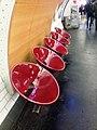 2018 Paris Metro chairs at Chatalet no. 1 line platform to La Defense.jpg