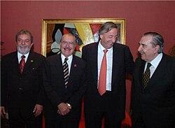 Iguazú, 30 de noviembre de 2005, 20 años del Mercosur: Lula, Sarney, Kirchner, Alfonsín