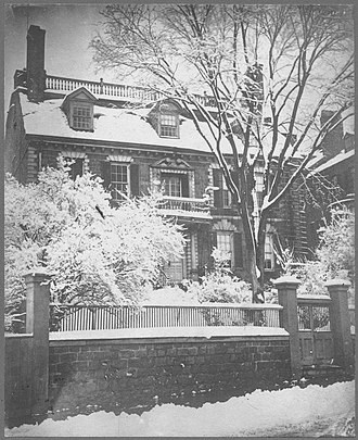 Hancock Manor - Winter view of the Hancock Mansion, ca.1860