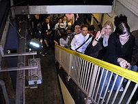 Commuter bottleneck after a V train arrives on...