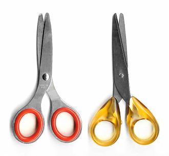 Bias against left-handed people - left-handed (left) and right-handed (right) scissors