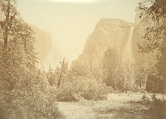 Carleton Watkins - Bridal Veil Falls. One of Watkins' iconic Yosemite photographs