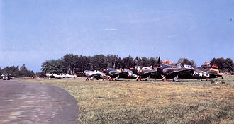 Nordholz Naval Airbase - 406th Fighter Group P-47 Thunderbolts, AAF Station Nordholz, Germany, June 1945.