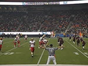 U Sports football - The Laval Rouge et Or on offence against the McMaster Marauders in the second quarter of the 47th Vanier Cup.