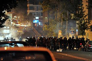 2009 Iranian presidential election protests - Riot police blocking a street in Tehran