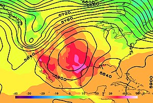 2000 Southern United States heat wave - MERRA2 data showing 2-Meter Temperature (in °C) and 500mb height fields at 7pm CDT on September 5th, 2000.