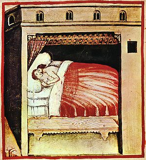 Consummation - Illustration from Tacuinum Sanitatis, a medieval handbook on wellness.