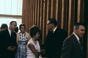 Robert Schuller - Schuller greeting parishioners after a Sunday service at the Garden Grove Community Drive-In Church, July 1962