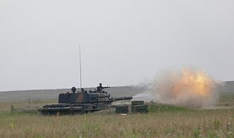 TR-85 - A TR-85M1 of the 631st Tank Battalion fires at a target during a military exercise.