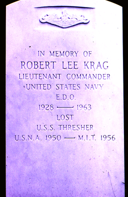 Memorial stone for a lost USS Thresher sailor, Arlington National Cemetery, July 1967 6707-ArlingtonCemetary-USS ThresherMemorialStone.png