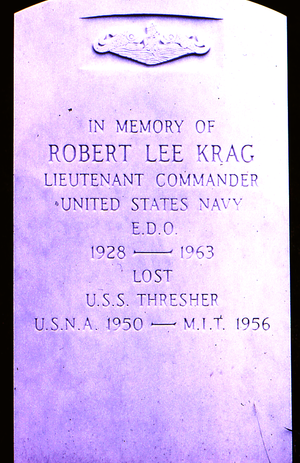 USS Thresher (SSN-593) - Memorial stone for a lost USS Thresher sailor, Arlington National Cemetery, July 1967