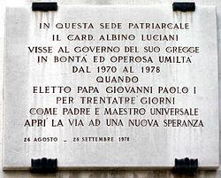 7694 - Venezia - Palazzo patriarcale - Lapide Giovanni Paolo I - Foto Giovanni Dall'Orto, 8-Aug-2007