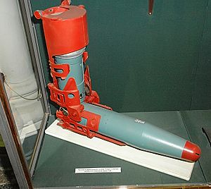 9K112 Kobra - The two sections of the missile in a loading chute prior to being joined.